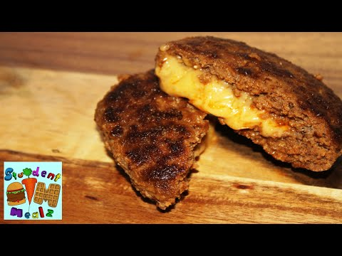 How to make CHEESE STUFFED BURGERS (Juicy Lucy) || Student Mealz