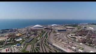 Аэросъемка в Сочи и Адлере олимпийский парк и окрестности вокруг железнодорожный вокзал ласточка