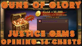 Guns Of Glory Opening 16 Justice Chests 1 at a Time