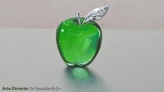 Cómo Dibujar Vidrio:una Manzana De Cristal Y/o Acrílico Verde - Arte Divierte