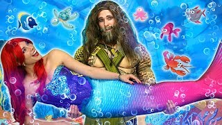 ARIEL GETS SAVED BY AQUAMAN (With Rapunzel, Moana, Belle, Elsa and Anna) Totally TV