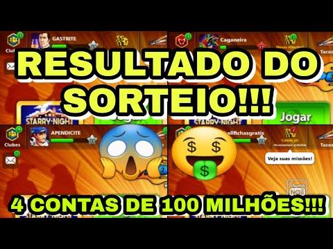 RESULTADO DO SORTEIO DE 4 CONTAS DE 100 MILHÕES MAIS TACO MULTIMILIONÁRIO! 8 BALL POOL SORTEIO 2020