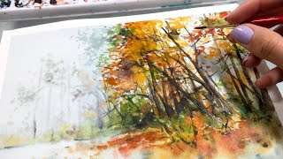 Fall Forest Quick Loose Painting in Watercolor