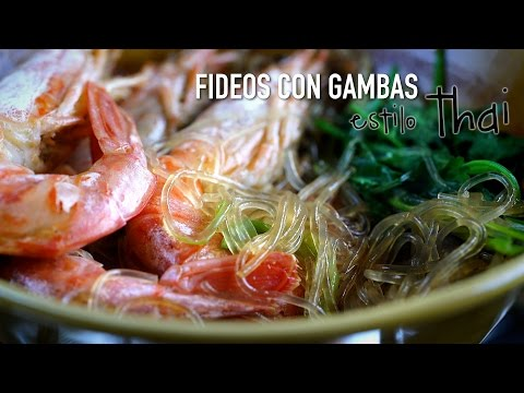 🕐 1 Min: Cazuelita Thai de fideos de soja con gambas - Thai Glass Noodle Pot With Shrimp Recipe