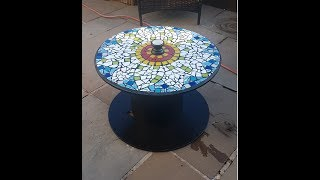 DIY Table / Cable Drum/spool Table. Mosaic Top. Simple And Easy To Make !!