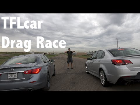 2014 Infiniti Q50S vs Chevy SS Mashup Drag Race: V-6 vs V8 smack-down Part 1