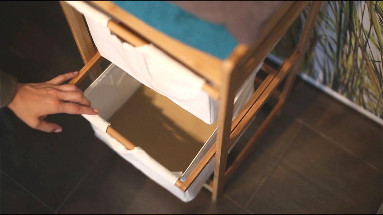 Video von: Wäschesammler Bambus LINEA 2 Körbe hoch