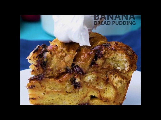 Search      Avatar image  0:03 / 0:30 Caramelized Banana Chocolate Croissant Bread Pudding
