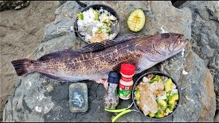 Catch and Cook!!! BOILING Rice - Fish, Avocado, and Butter!  SO EASY!!!!