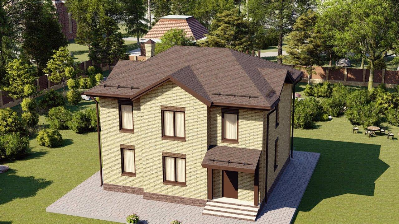 Красивый двухэтажный дом из пеноблоков площадью 120 метров