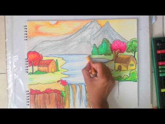 Video Beautiful Scenery Drawing For Kids