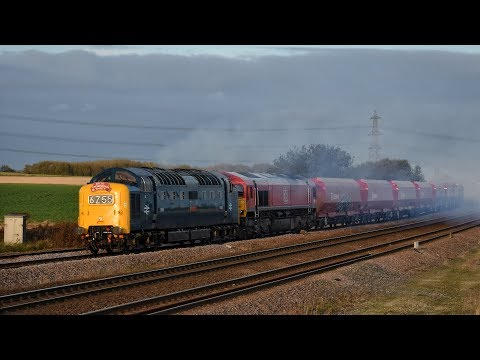 Deltic 55009 powers past Burton Salmon with DB Cargo 66082 2…