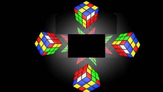 Rubik's Cube in Hologram in 4 Face View for Holographic Pyramid