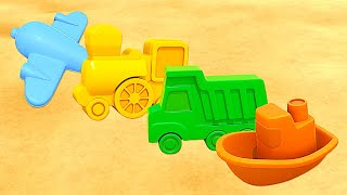 Kids' vehicles and sand pit toys. Cartoons.