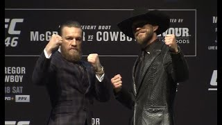 "Conor McGregor, Donald ""Cowboy"" Cerrone and UFC President Dana white participate in a press conference ahead of UFC 246.  Subscribe to get all the latest UFC content: http://bit.ly/2uJRzRR  Experience UFC live with UFC FIGHT PASS, the digital subscription service of the UFC. Visit https://ufcfightpass.com/  To order UFC Pay-Per-Views, visit http://welcome.ufcfightpass.com/#PPV   Connect with UFC online and on Social: Website: http://www.ufc.com Twitter: http://www.twitter.com/ufc Facebook: http://www.facebook.com/ufc Instagram: http://www.instagram.com/ufc Snapchat: UFC Periscope: http://Periscope.tv/ufc  Connect with UFC FIGHT PASS on Social: Twitter: http://www.twitter.com/ufcfightpass Facebook: http://www.facebook.com/ufcfightpass Instagram: http://www.instagram.com/ufcfightpass"