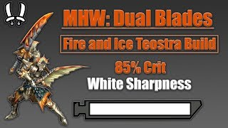 MHW: Dual Blades Build! Fire and Ice Teostra Build! 85% Crit + Infinite Sharpness