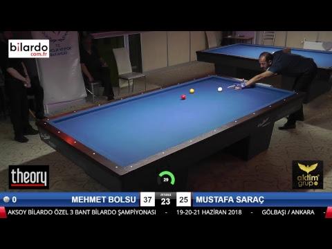 MEHMET BOLSU & MUSTAFA SARAÇ Bilardo Maçı - AKSOY BİLARDO 3 BANT TURNUVASI-1. Tur