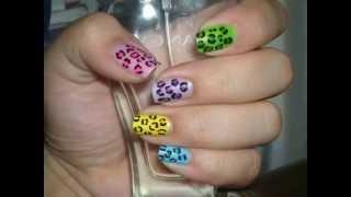 Nail Design Idea: Colorful Leopard Prints