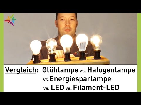Glühlampe, Halogenlampe, Energiesparlampe, LED & Filament-LED im Vergleich [watt24-Video Nr. 128]
