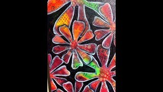 Art Journal Tutorial - The Earth Laughs In Flowers- TCW Stencils And Negative Painting