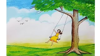 Hmongbuy how to draw scenery of spring season flower how to draw scenery of a girl swing on tree step by step ccuart Images