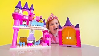PRINCESS CINDERELLA pretend play disney lego castle with Adley and Mystery Guest