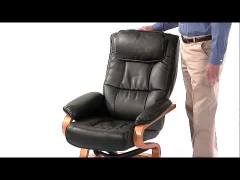 Flash Furniture BT 7615 BK CURV GG Contemporary Black Leather Recliner And  Ottoman With Swiveling Maple Wood Base