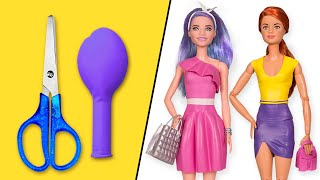👗 DIY Barbie Dresses With Balloons Easy No Sew Clothes For Barbies    BARBIE DOLL HACKS