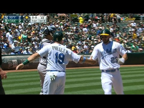 6/18/17: Pinder, Davis lead A's past Yankees, 4-3
