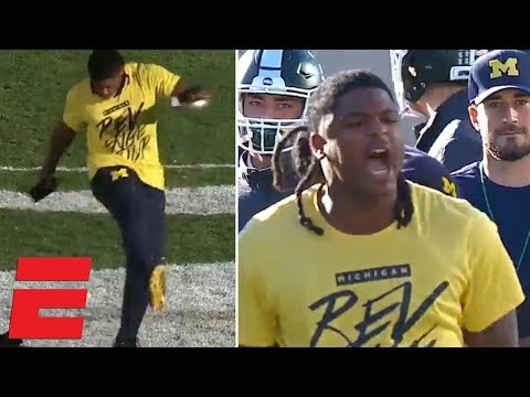 Michigan player ruins Michigan State logo after pregame scuffle