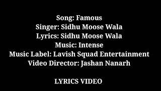 Lyrics Video-(FAMOUS)-sidhu Moosewala|| LATEST PUNJABI SONGS 2018