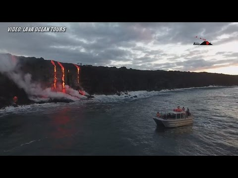 Video Hawaii Lava Ocean Entry - By Land, Sea and Air (July 27, 2016)