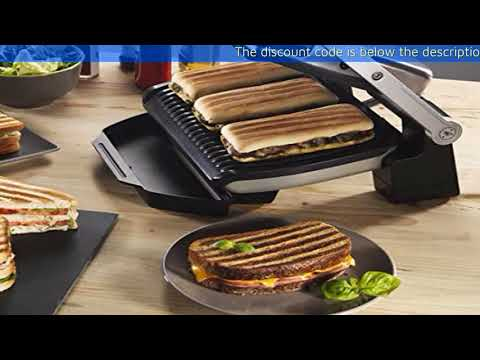 , T-fal OptiGrill Electric Grill, Indoor Grill, Removable Nonstick Plates, Silver