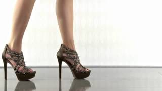 Jessica Simpson Elanor Dark Champagne Satin Strappy Stiletto Heels