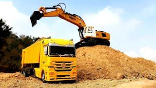 Huina RC Excavator & Mercedes Truck In Action | RC Dump Truck | Construction Vehicles | Auto Legends