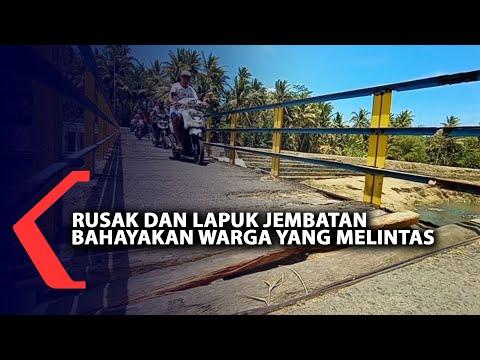 rusak dan lapuk jembatan bahayakan warga yang melintas