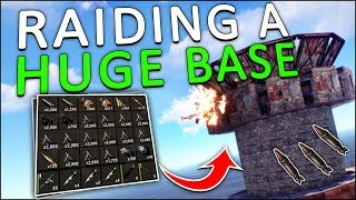 ROCKET-RAIDING a HUGE BASE with my MINICOPTER! - Rust Solo #10