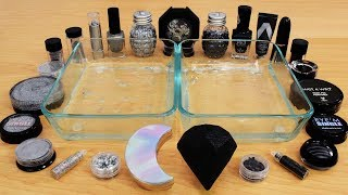 Holo vs Black - Mixing Makeup Eyeshadow Into Slime! Special Series 126 Satisfying Slime Video