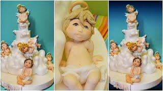 Tutorial Baptism Christening Cake Topper Fondant Sugar Paste Torta Battesimo Angel Pasta Zucchero