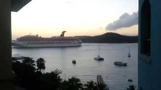 preview picture of video 'Carnival Valor Leaving Charlotte Amalie - St. Thomas USVI - 02.25.2013'
