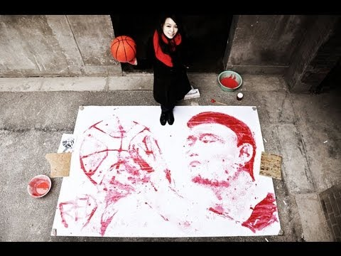 Watch A Girl Use Just A Basketball To Paint A Portrait Of Yao Ming