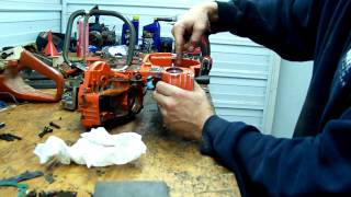Splitting a chainsaw crank case with home made tools