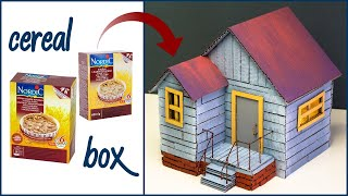 Make A Beautiful Cardboard House From Cereal Boxes 📦 School Craft Project