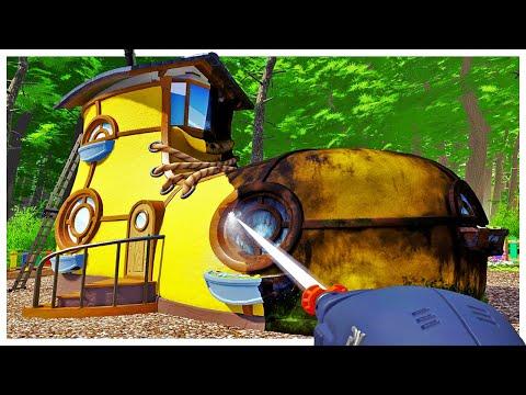 Pressure Washing Decades of Filth off Weird Homes - Power Wash Simulator