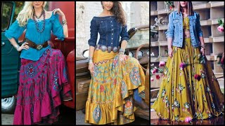 Colourful Bohemian Style/Skirts With Denim Shirts/Newyear Dress 2020