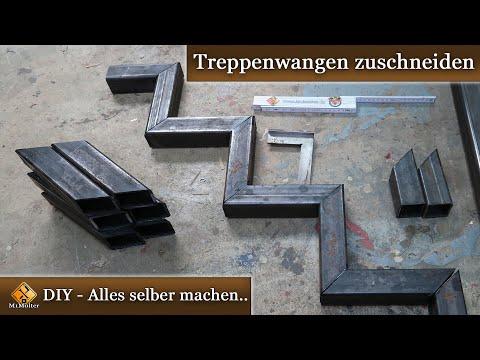 Stahltreppe selber bauen / Treppenwangen zuschneiden (50 mm Quadratrohr)