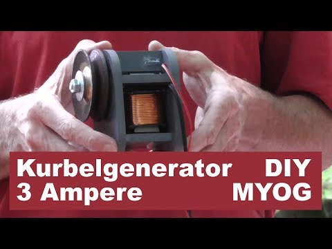 Mobile Stromversorgung (2): Kurbelgenerator - Akku laden mit Muskelkraft - 12 Watt, 3 Ampere