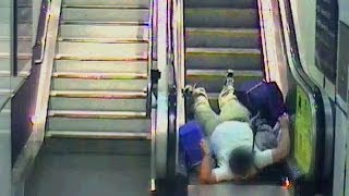 CCTV Of Trip Ups On Escalators In Railway Stations