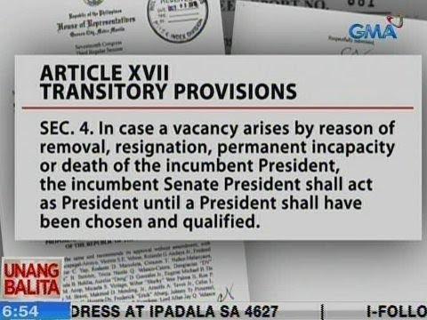 [GMA]  Senate President at hindi VP ang hahalili sa Pangulo kung mawala siya, base sa Draft Federal Chapter