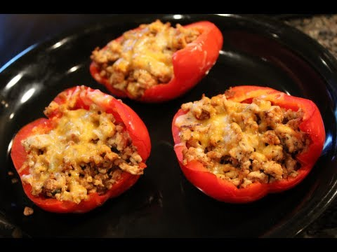 Video Bodybuilding Cutting Meal:  Low-Carb Ground Turkey Stuffed Peppers